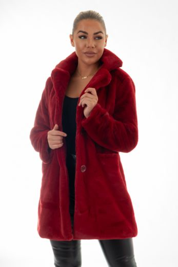 Chloe Button Coat Red
