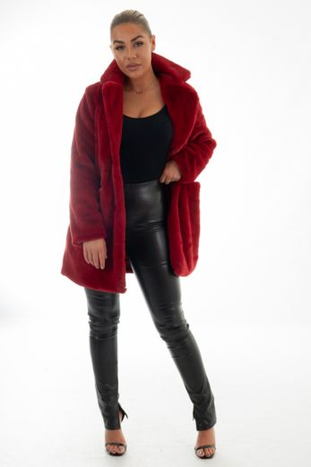 Eve Chloe Button Coat Red