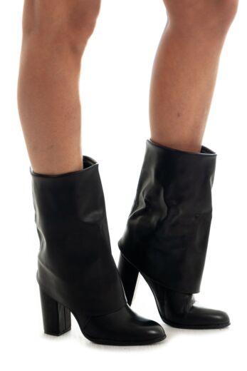 Jhene Leather Folded Boots Black