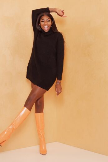May Knitted Turtle Neck Sweater Dress Black