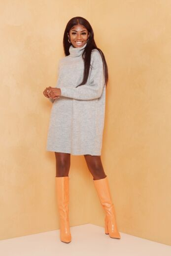 Eve May Knitted Turtle Neck Sweater Dress Grey Front