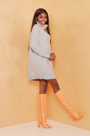 May Knitted Turtle Neck Sweater Dress Grey