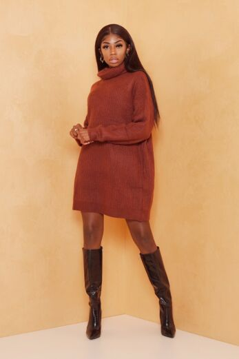 Eve May Knitted Turtle Neck Sweater Dress Brown Front