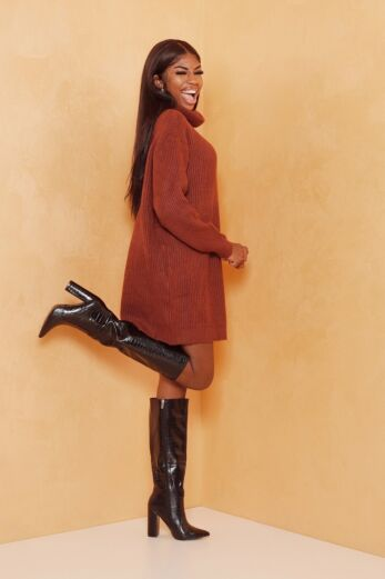 May Knitted Turtle Neck Sweater Dress Brown