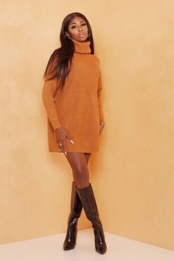 Eve May Knitted Turtle Neck Sweater Dress Mustard Front