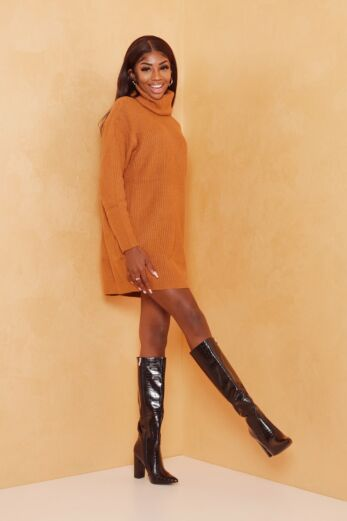 May Knitted Turtle Neck Sweater Dress Mustard