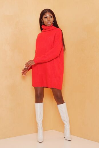 Eve May Knitted Turtle Neck Sweater Dress Red Front