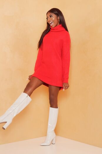 May Knitted Turtle Neck Sweater Dress Red
