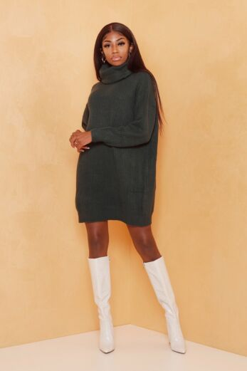 Eve May Knitted Turtle Neck Sweater Dress Forrest Green Front