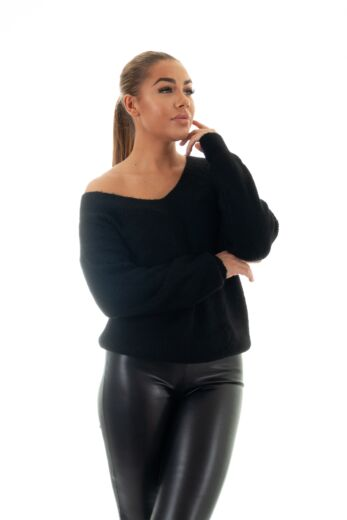 May Knitted V-Neck Sweater Black