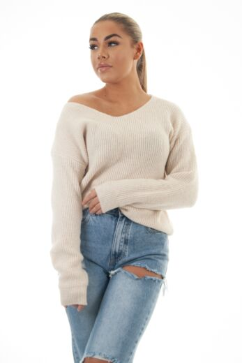 May Knitted V-Neck Sweater Creme