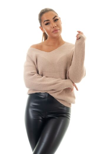 May Knitted V-Neck Sweater Nude