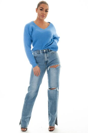 Eve May Knitted V-Neck Sweater Blue Front