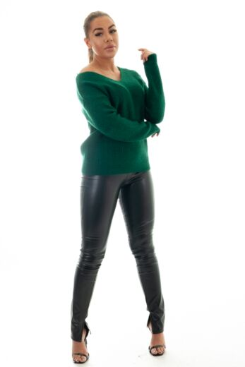 May Knitted V-Neck Sweater Forrest Green