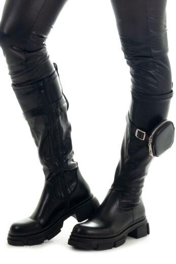 Eve Ella Leather Puf Boots Black