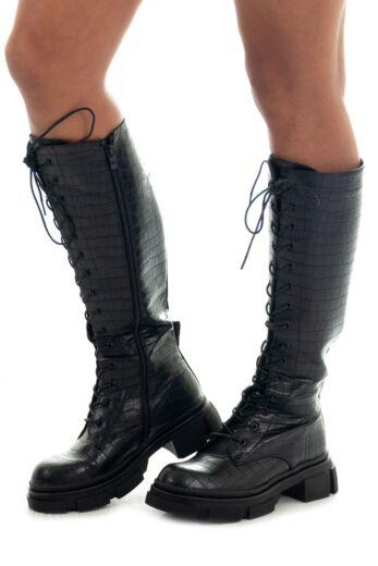 Eve Kelly Leather Crocodile Boots Black