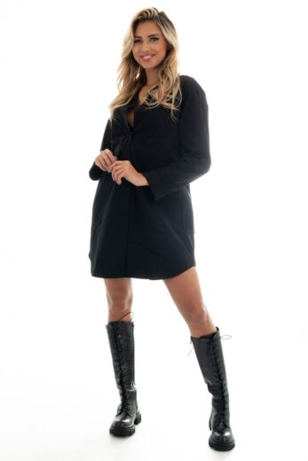 Eve Shay Oversized Blouse Dress Black Front