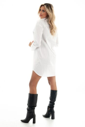 Shay Oversized Blouse Dress White