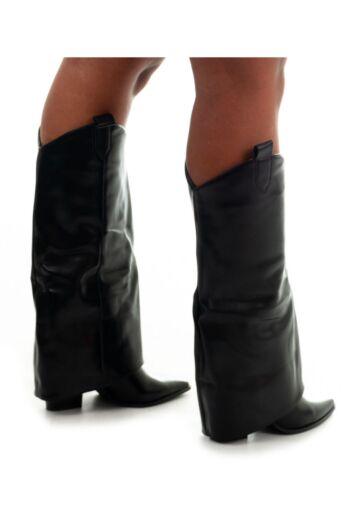 Jhene Leather Folded High Boots Black