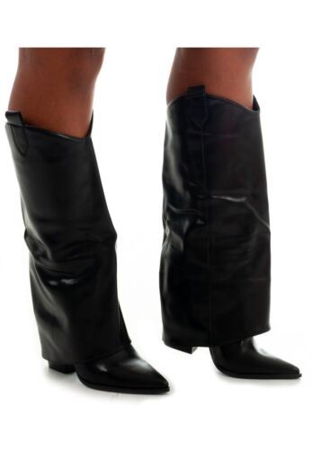 Eve Jhene Leather Folded High Boots Black Front