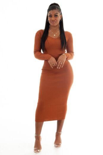 Vivi Doll Ribbed Dress Rust