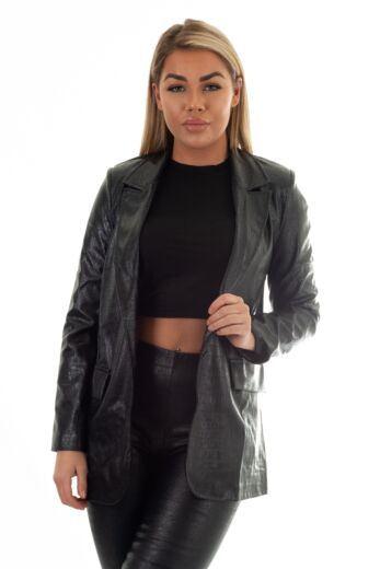 Eve Milana Croco Leather Blazer Black