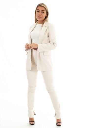 Eve Milana Croco Leather Split Pants Creme