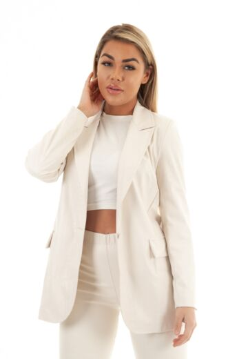 Eve Milana Croco Leather Blazer Creme Close Front