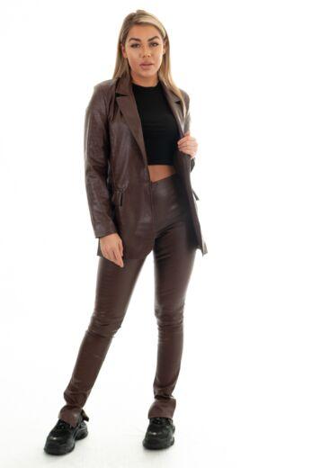 Eve Milana Croco Leather Split Pants Chocolate