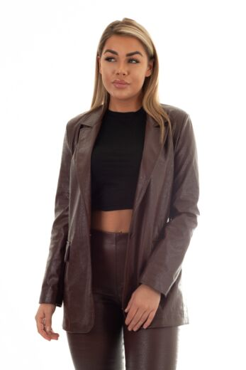 Eve Milana Croco Leather Blazer Chocolate Close Front