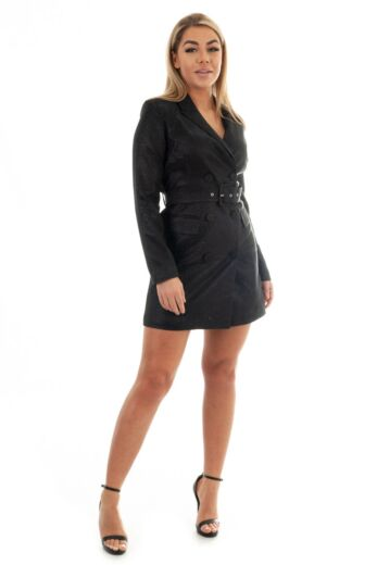 Charlie Belted Glitter Blazer Dress Black