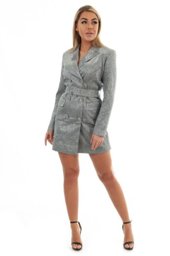Eve Charlie Belted Glitter Blazer Dress Silver Front