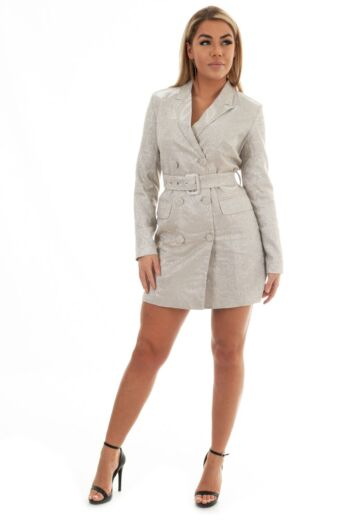 Eve Charlie Belted Glitter Blazer Dress Champagne