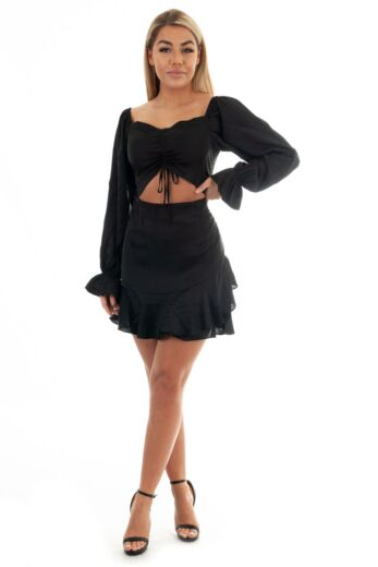 Satin Cut Out Dress Black