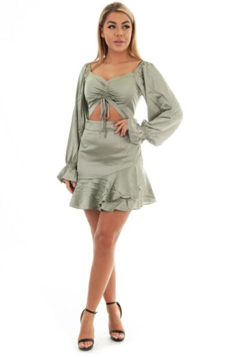 Satin Cut Out Dress Olive