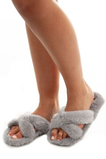 Eve Fluffy Cross Over Slides Grey