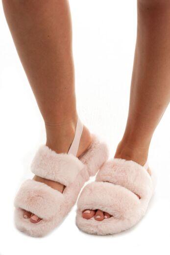 Eve Fluffy  Strap Slides Pink