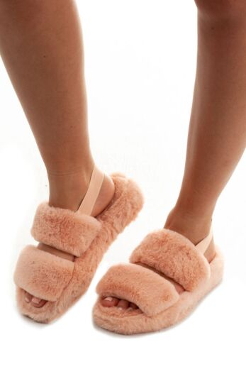 Eve Fluffy  Strap Slides Blush