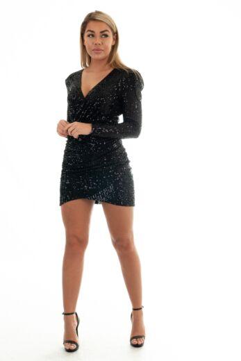 Liv Sequin Wrap Short Dress Black