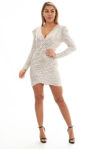 Eve Liv Sequin Wrap Short Dress Silver Front