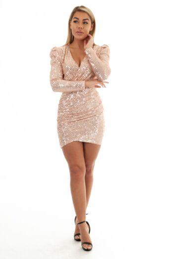 Liv Sequin Wrap Short Dress Rose
