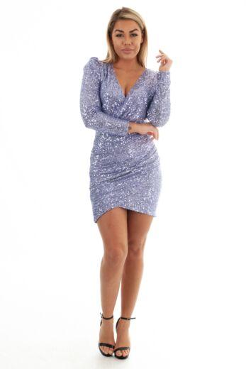 Eve Liv Sequin Wrap Short Dress Lila Front