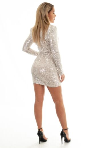 Liv Sequin High Neck Dress Silver