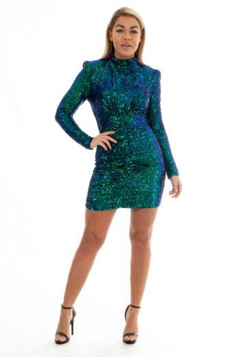 Eve Liv Sequin High Neck Dress Blue/Green Front