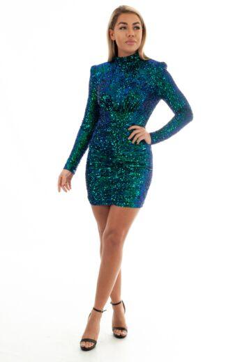 Liv Sequin High Neck Dress Blue/Green