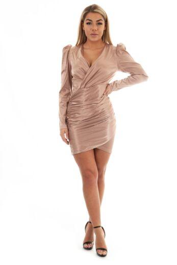 Noé Satin Wrap Dress Bronze