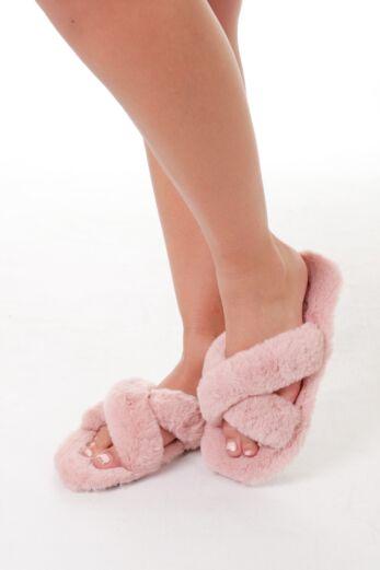 Eve Fluffy Cross Over Slides Pink