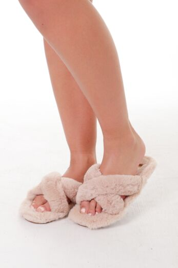 Fluffy Cross Over Slides Taupe