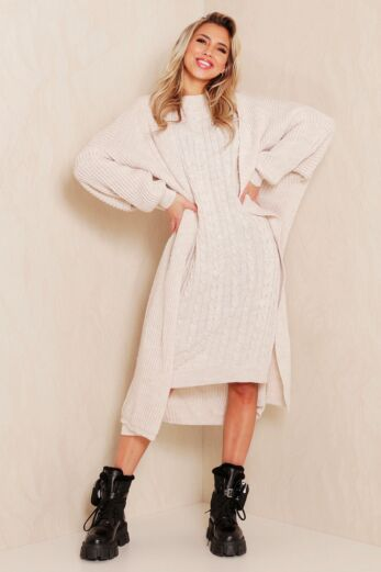 Evie Knitted Two Piece Dress Creme Front
