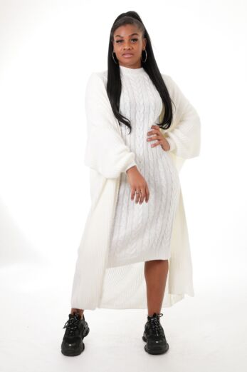 Eve Evie Knitted Two Piece Dress White Front